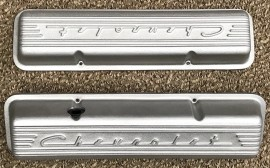 PML Chevrolet Script Finned Aluminum Valve Covers